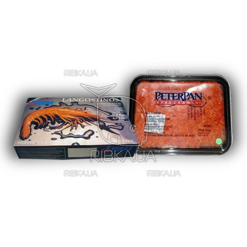 Комплект Аргентинская креветка в панцире с/м 61-80 + икра горбуши Питер Пен 500 грамм