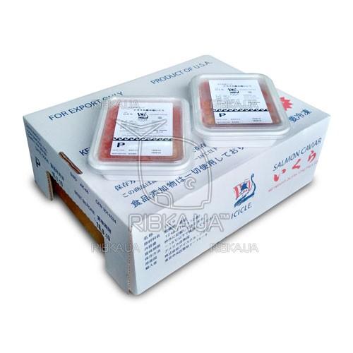 Икра горбуши солёно-мороженая ICICLE P сорт 1 (1 ящик) - 12 пачек по 1 кг.