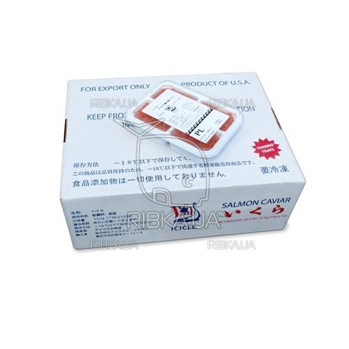 Икра горбуши солёно-мороженая ICICLE PL сорт 3 (1 ящик) - 12 пачек (4 х 250 грамм)