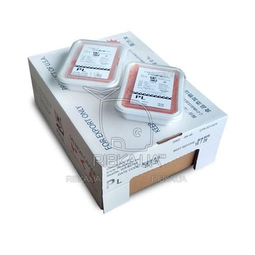 Икра горбуши солёно-мороженая ICICLE PL сорт 3 (1 ящик) - 12 пачек по 1 кг. - 2018 год